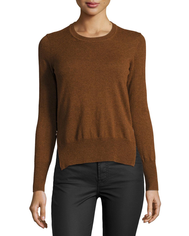 toile isabel marant kessy knit side zip sweater in brown lyst. Black Bedroom Furniture Sets. Home Design Ideas