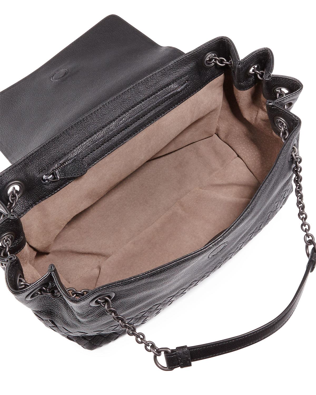 b4d7cbf212 Lyst - Bottega Veneta Small Madras Intrecciato Flap Shoulder Bag in ...