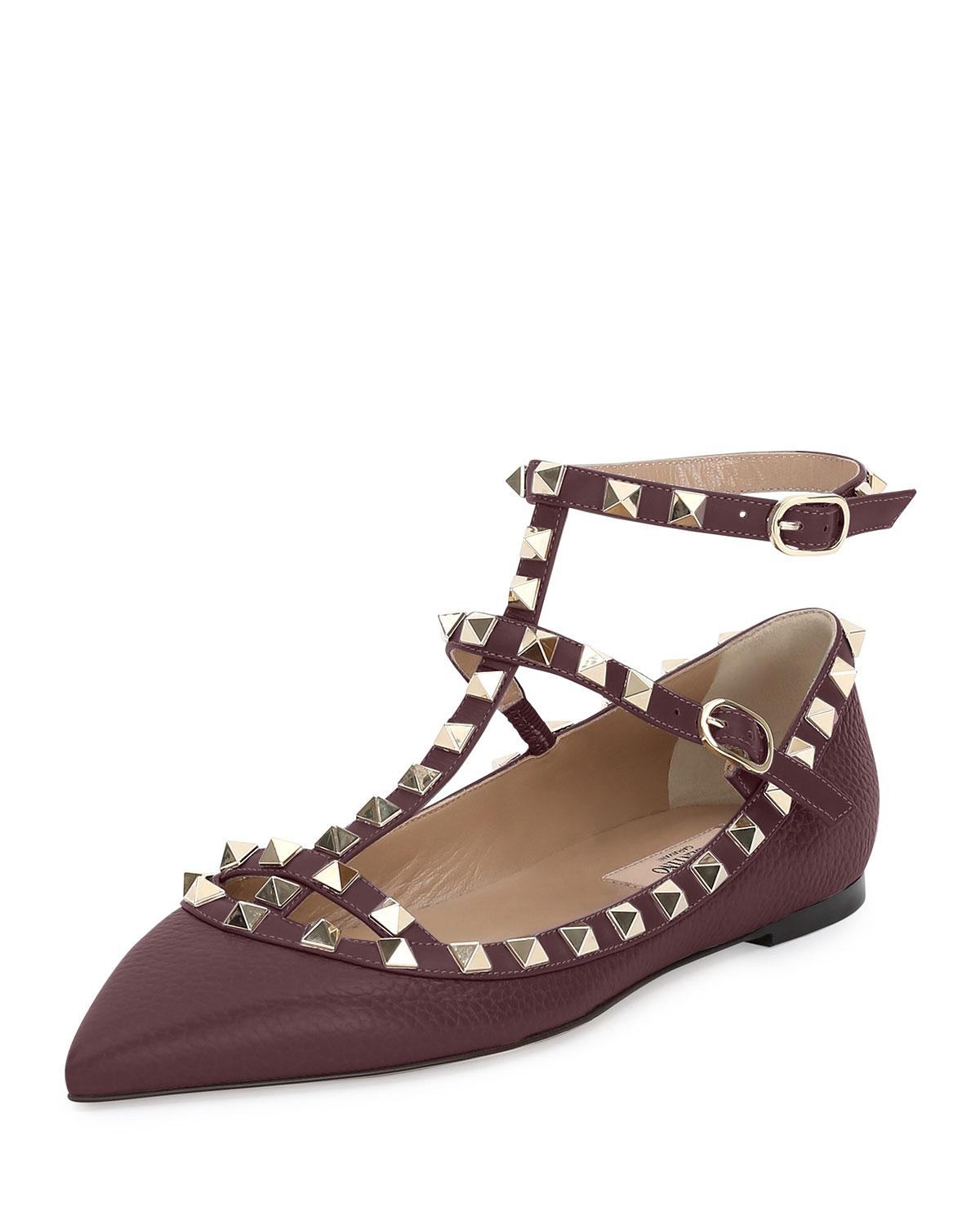 lyst valentino rockstud caged leather ballet flats in brown. Black Bedroom Furniture Sets. Home Design Ideas