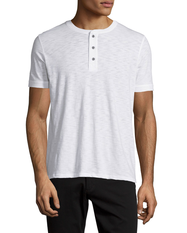 Vince short sleeve slub henley t shirt in white for men lyst for Vince tee shirts sale