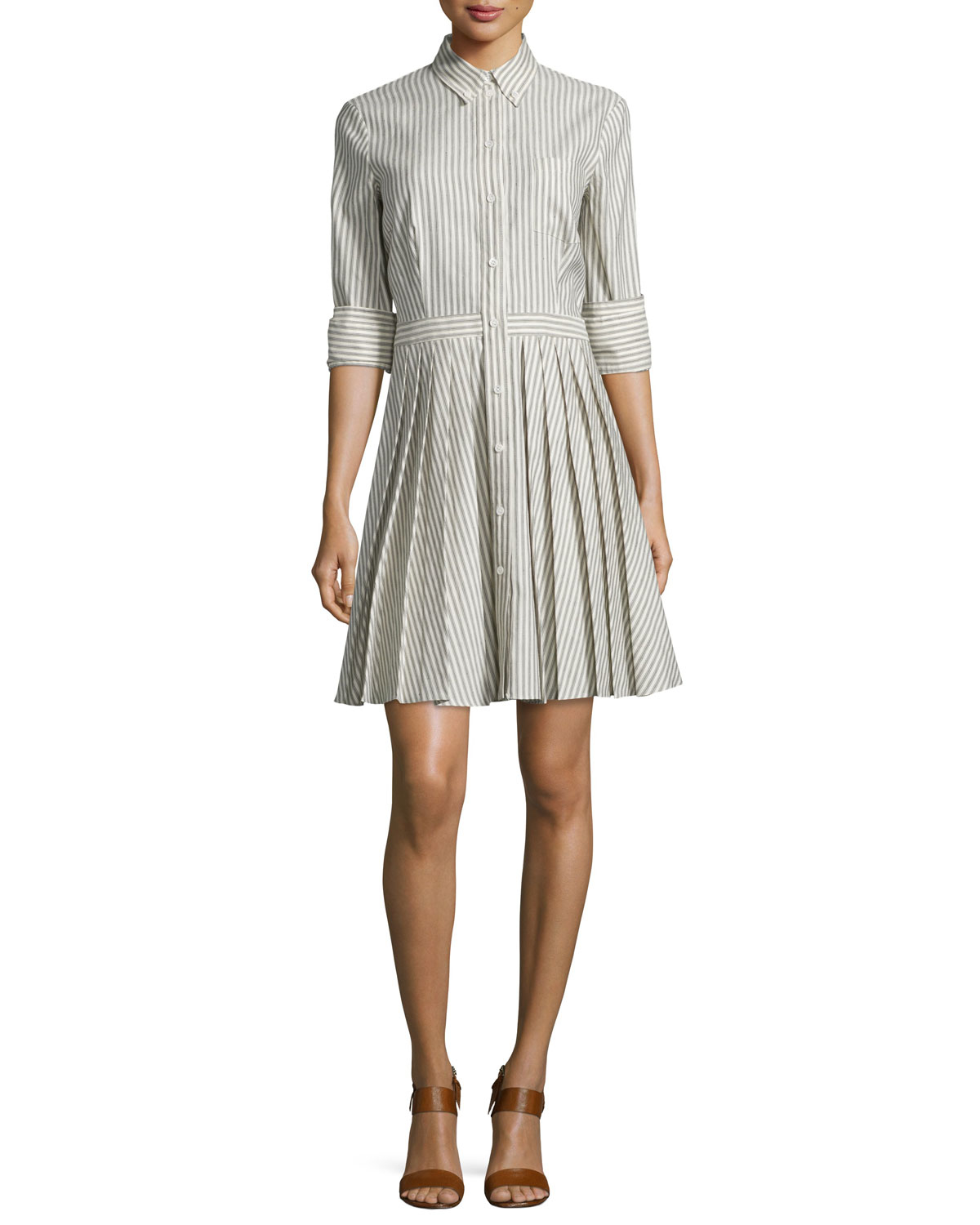 Michael Kors Button Front Double Cuff Shirtdress In Black