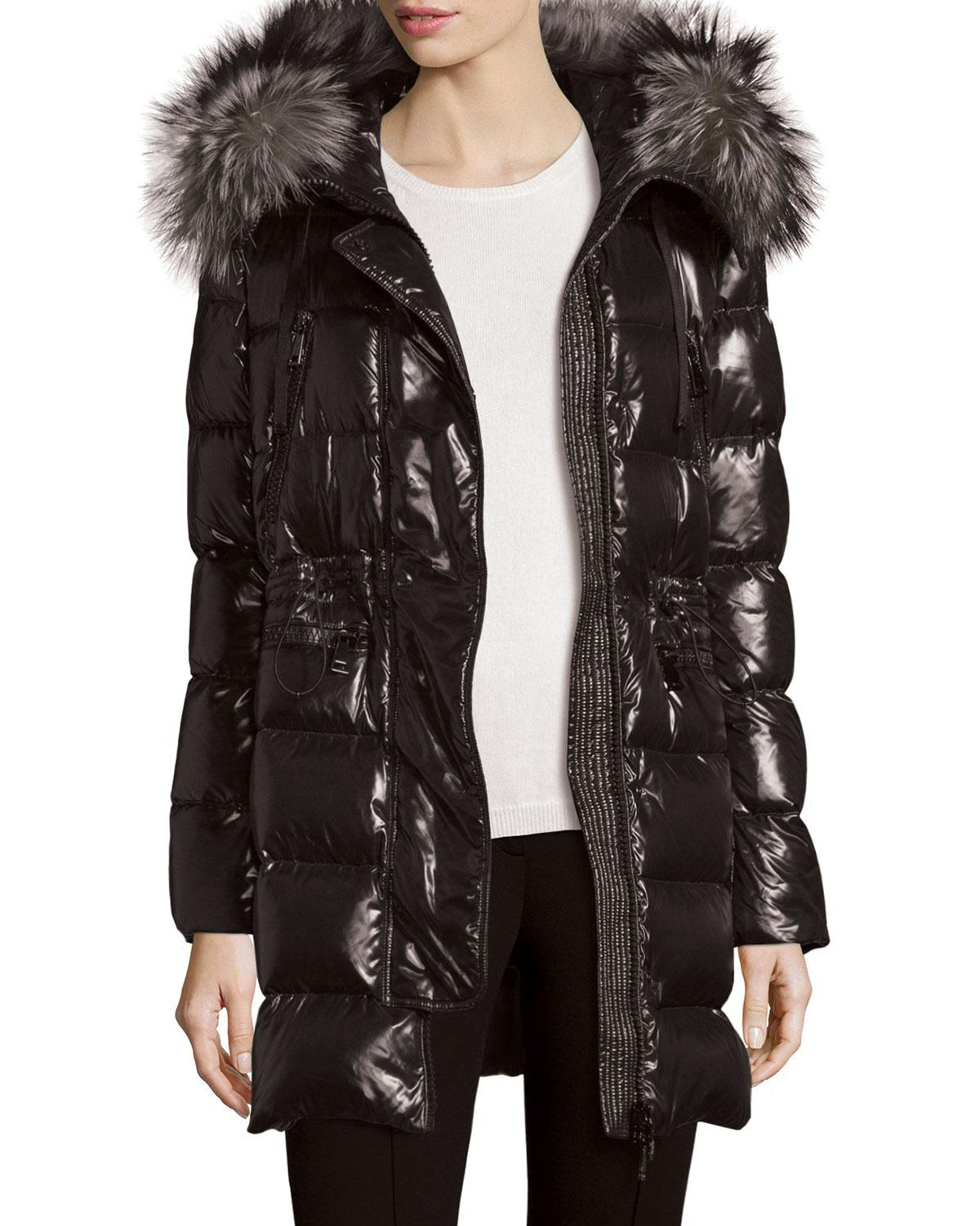 5e979276bca3fd Moncler Shiny Quilted Down Coat W/fur Hood in Black - Lyst