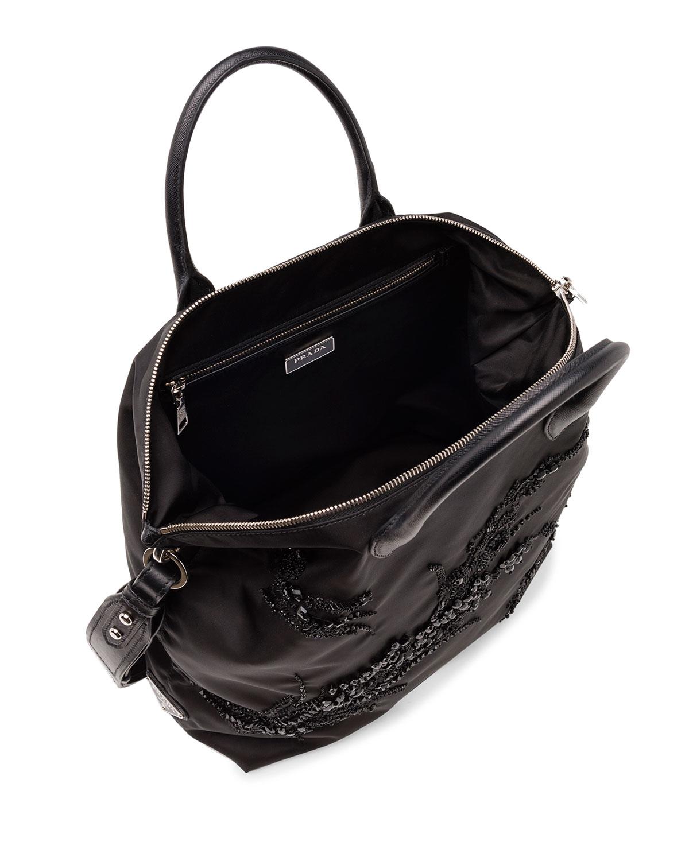 bf6079764f Lyst - Prada Large Nylon Beaded Tote Bag in Black