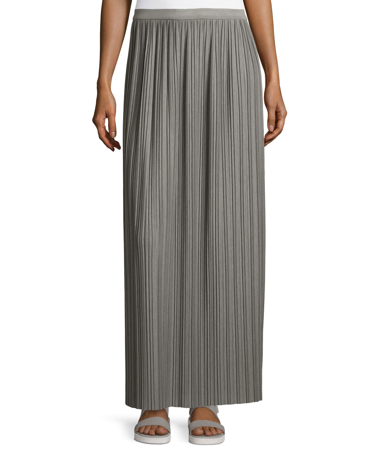 theory osnyo drapey pleated maxi skirt in gray lyst