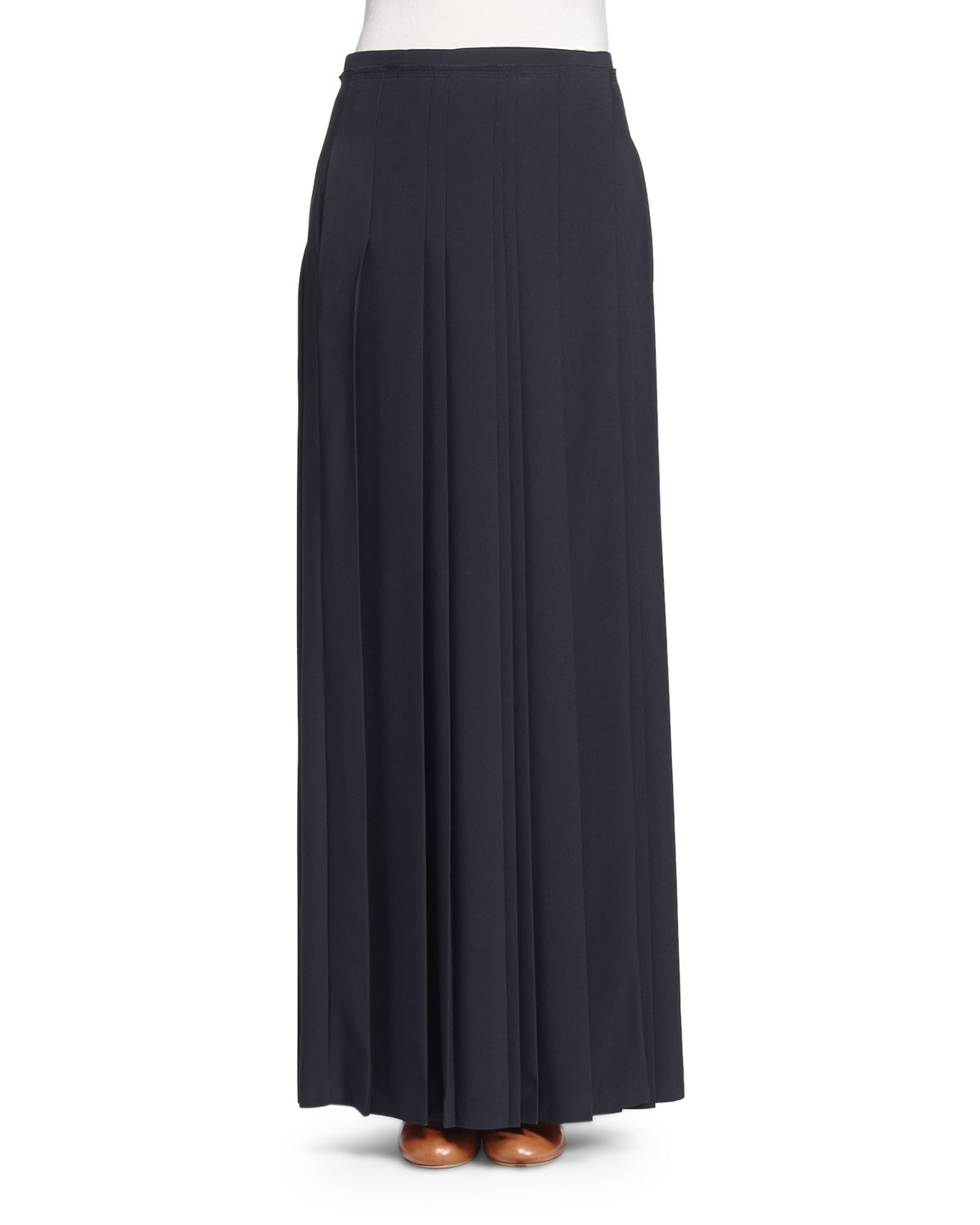 chlo 233 pleated kilt maxi skirt in black save 34 lyst