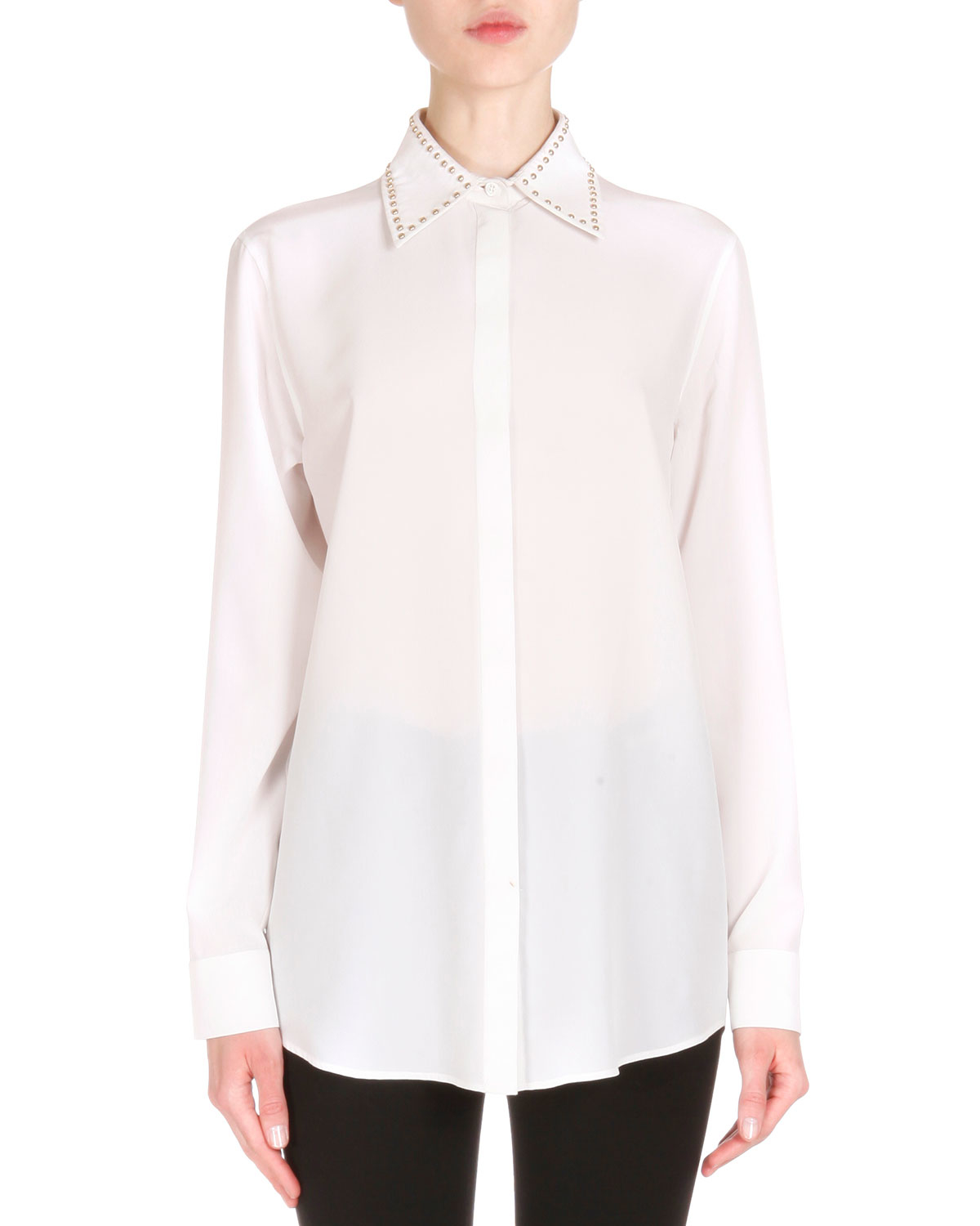 Zara White Blouse With Studded Collar 24