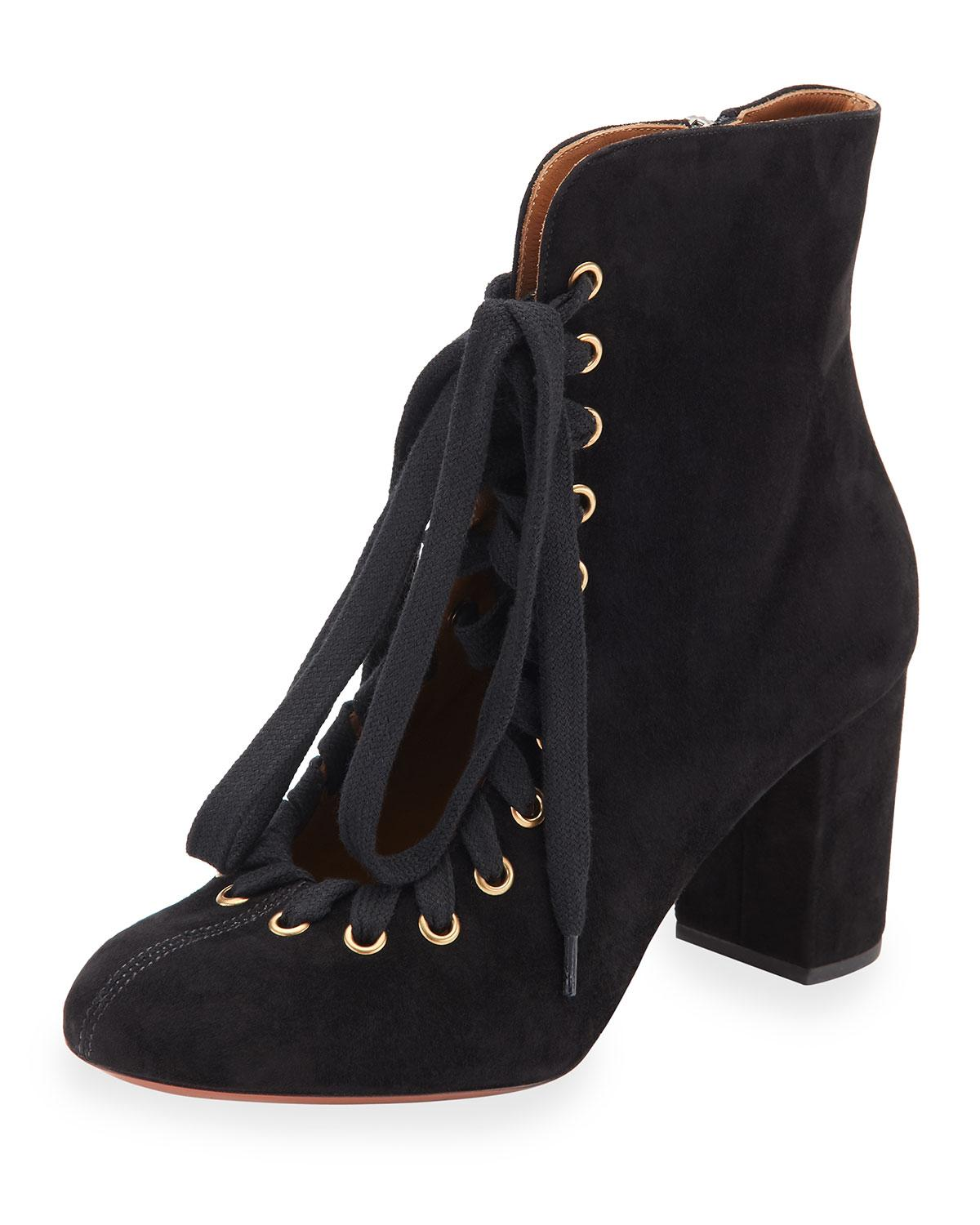 chlo 233 lace up suede ankle boot in black save 50 lyst