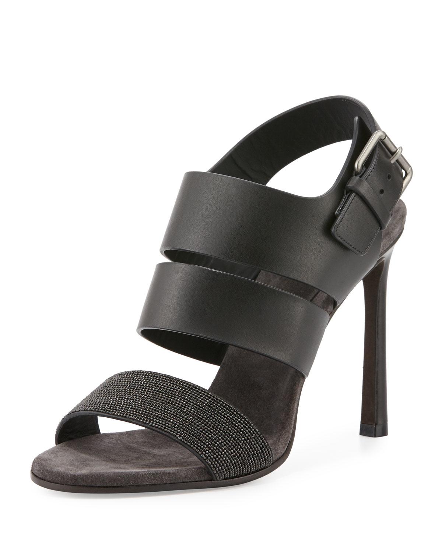 Brunello cucinelli Monili Leather 105mm Sandal in Black