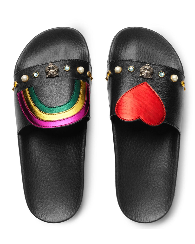 edfd2a4e62c0 Lyst - Gucci Flat Pursuit Heart   Rainbow Sandal Slide in Black