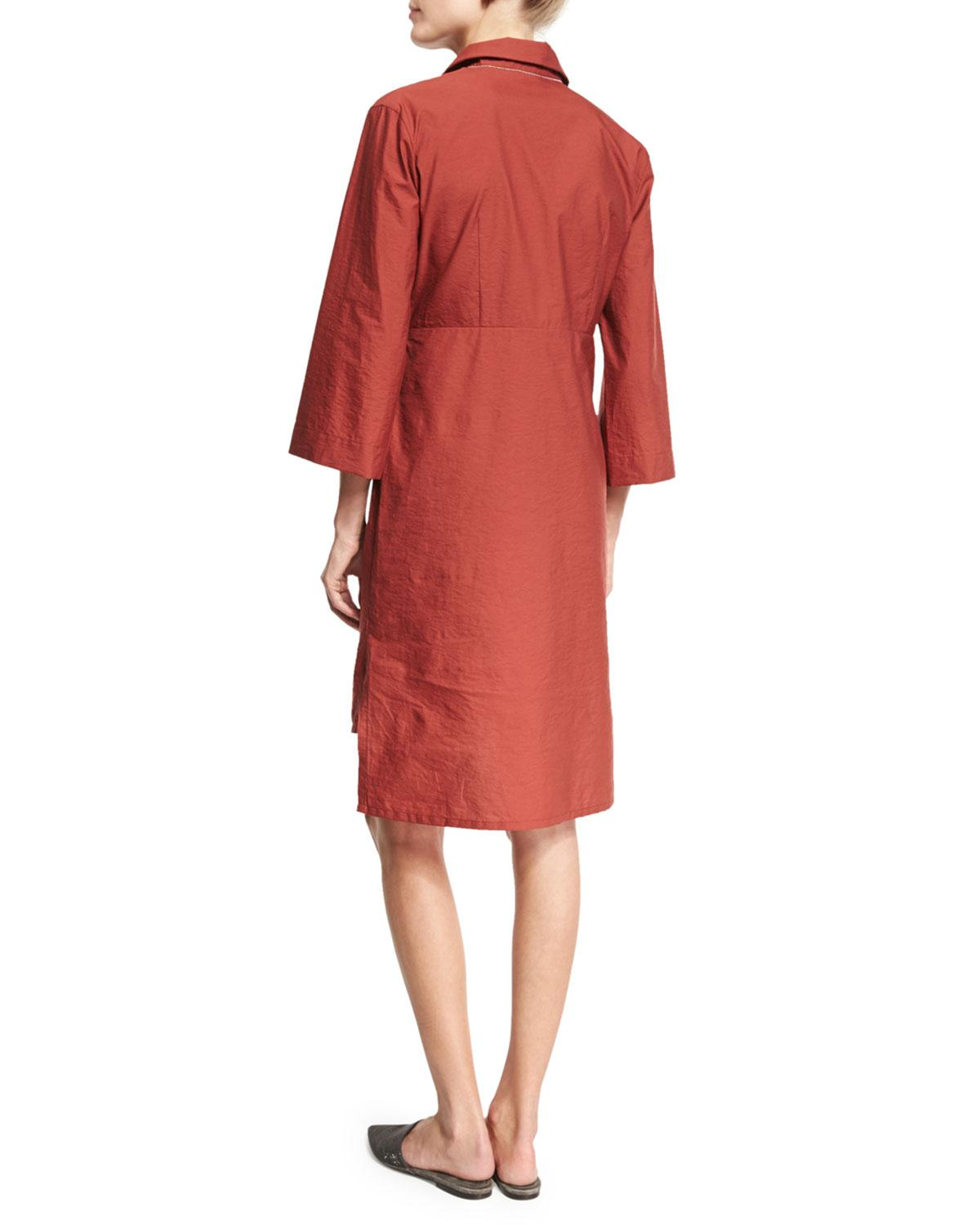 Brunello Cucinelli Crinkled Wrap Front Shirtdress In Red