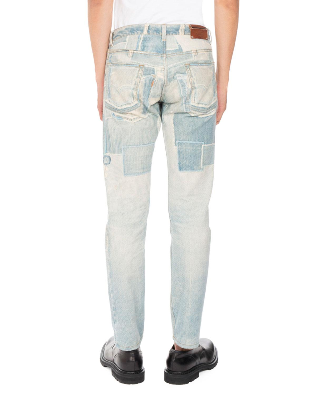 Dries van noten Pender Denim-print Skinny Jeans in Blue for Men | Lyst