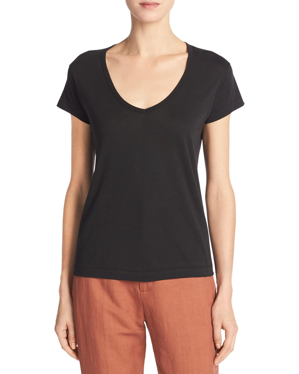 Lyst vince peruvian cotton jersey v neck tee in black for Peruvian cotton t shirts