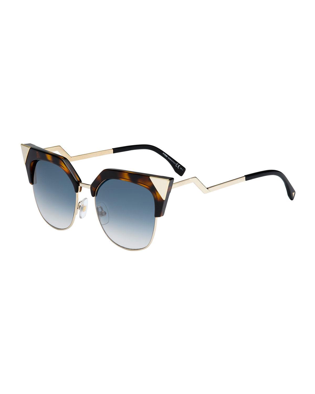 7e39bcddde Fendi Half-rim Crystal Cat-eye Sunglasses