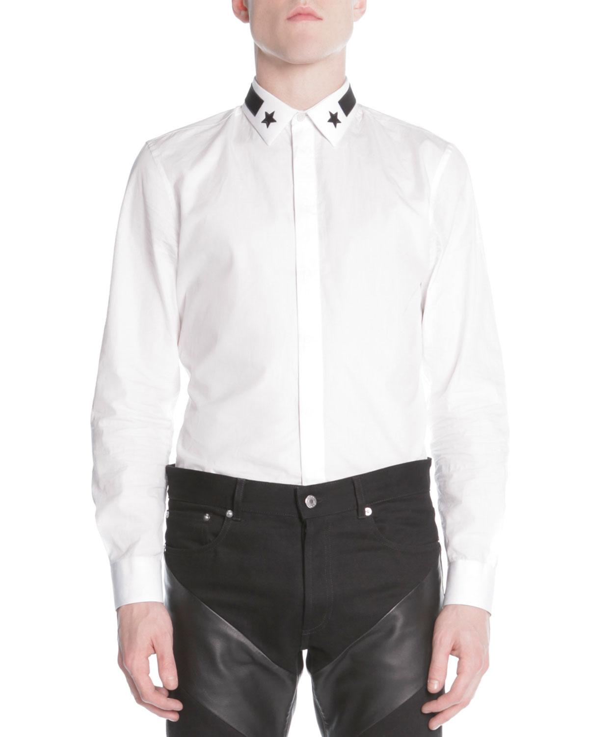 Givenchy star stripe collar button down shirt in white for Givenchy 5 star shirt