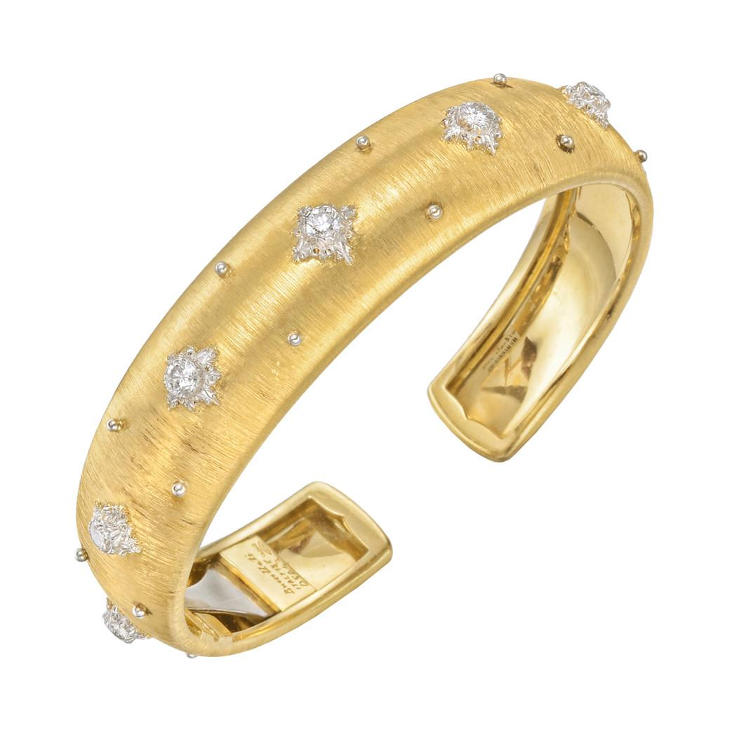 Buccellati 18k Macri Cuff Bracelet w/ Diamonds, Yellow Gold