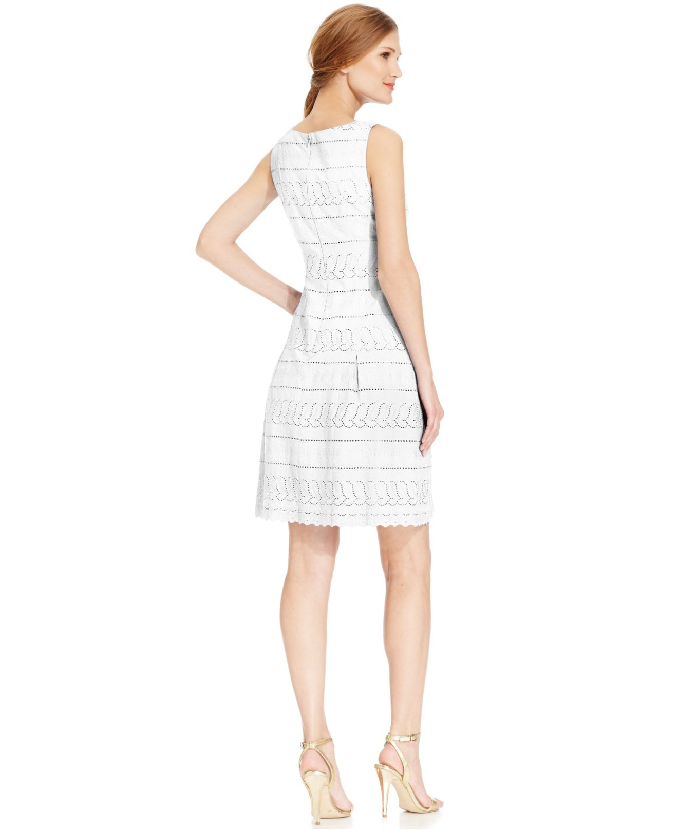 Ivanka Trump Sleeveless Eyelet Cotton Dress In White Lyst
