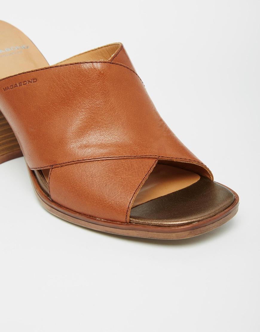 Lyst - Vagabond Lea Tan Leather Heeled Mule Sandals in Brown 1671ba7b29
