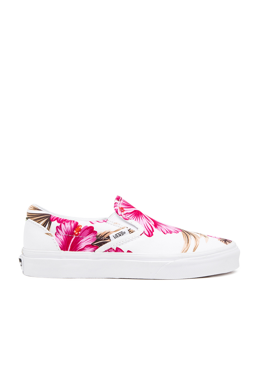 38abb8cf667bb8 Lyst - Vans Classic Hawaiian Floral Slip On Sneaker in Pink