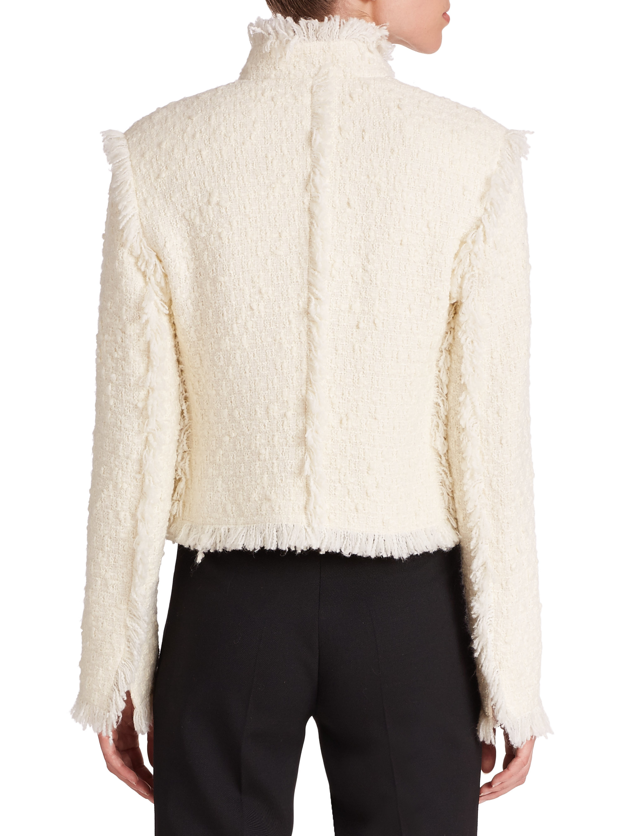 Akris punto Fringe Tweed Jacket in Natural | Lyst