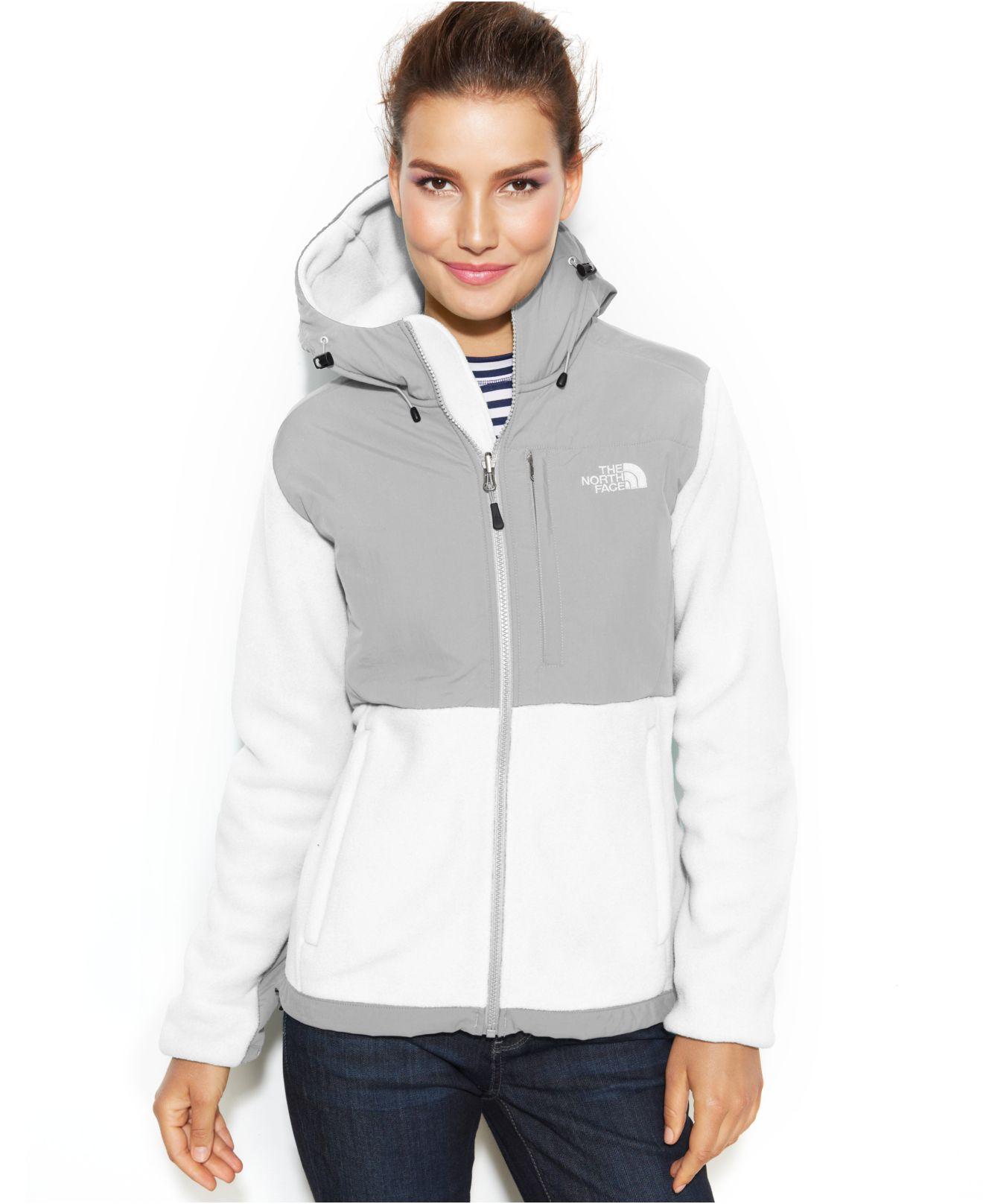 1cd0d14782d7 Lyst - The North Face Hooded Denali Fleece Jacket in Gray