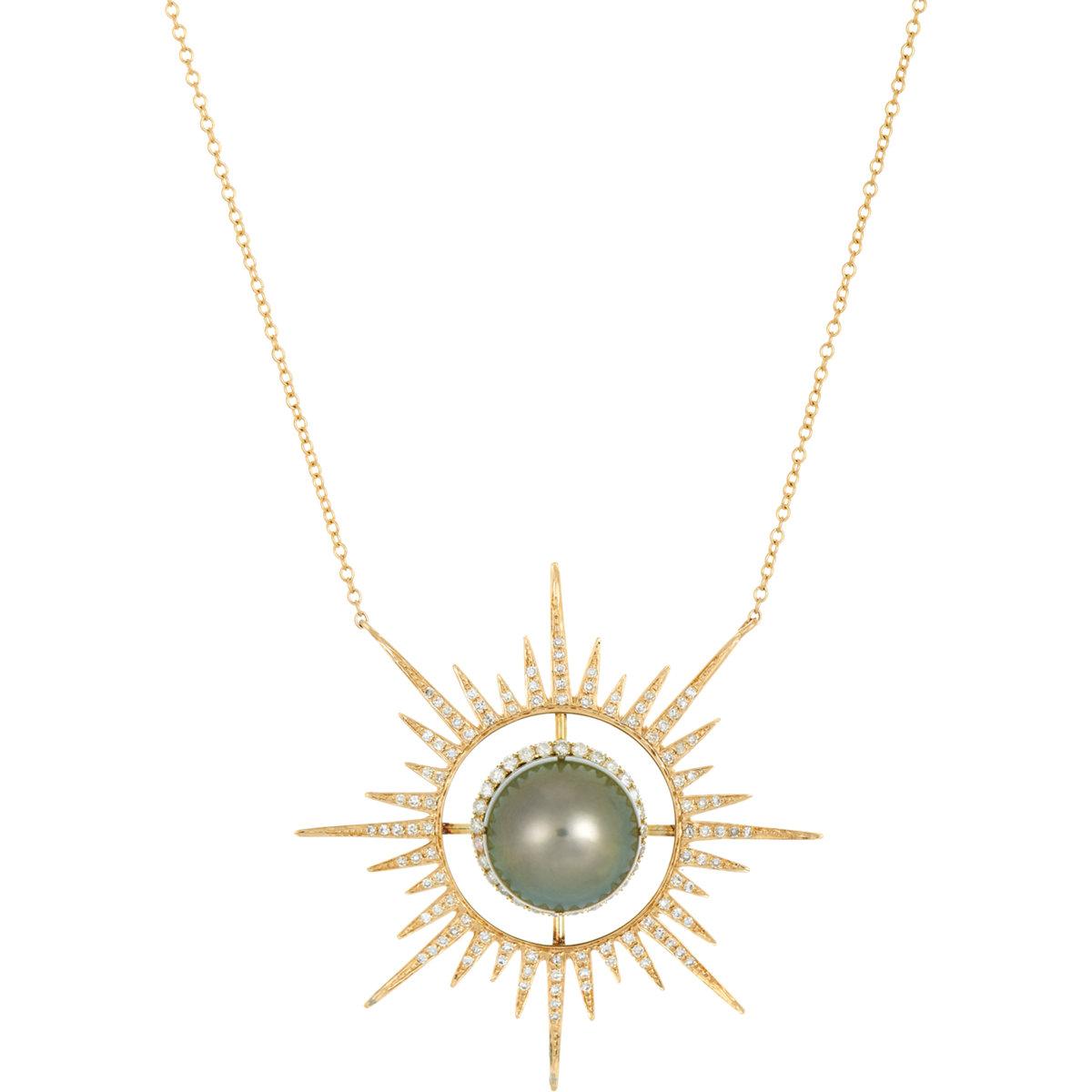 Lyst samira 13 womens starburst pendant necklace in metallic gallery mozeypictures Images