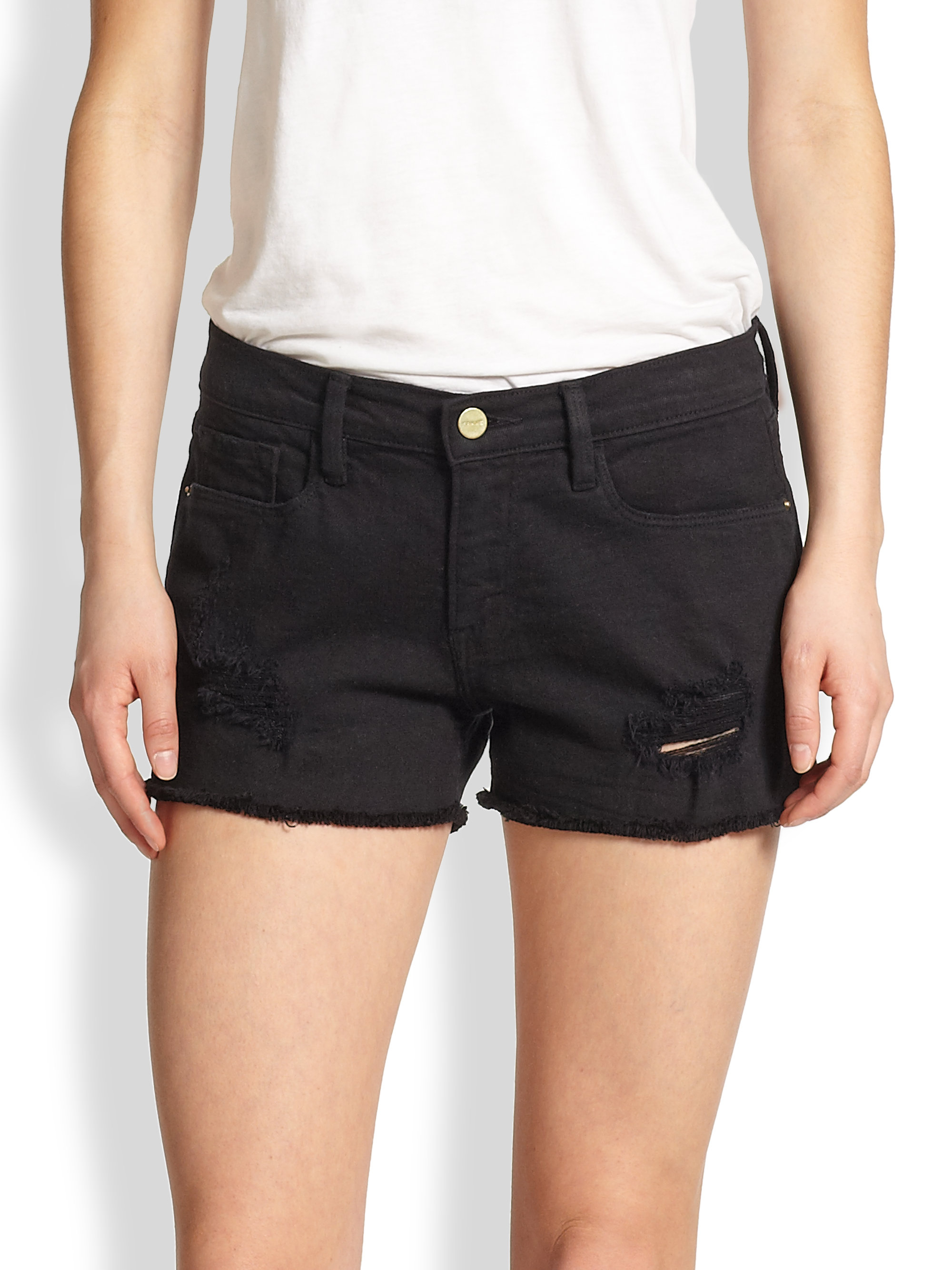 Frame Le Distressed Cut-Off Shorts in Black | Lyst