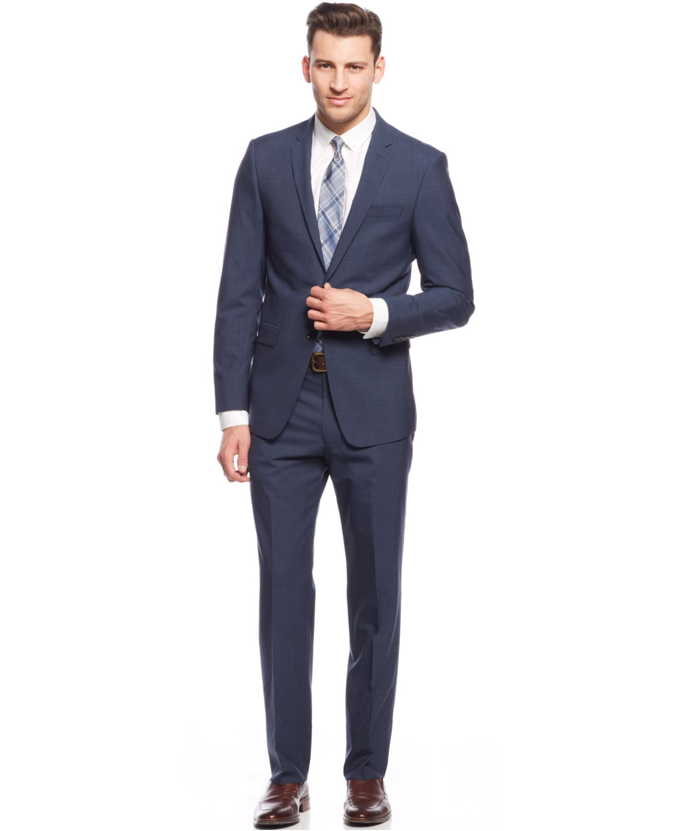 Dkny Modern Blue Stepweave Extra Slim-fit Suit in Blue for Men | Lyst