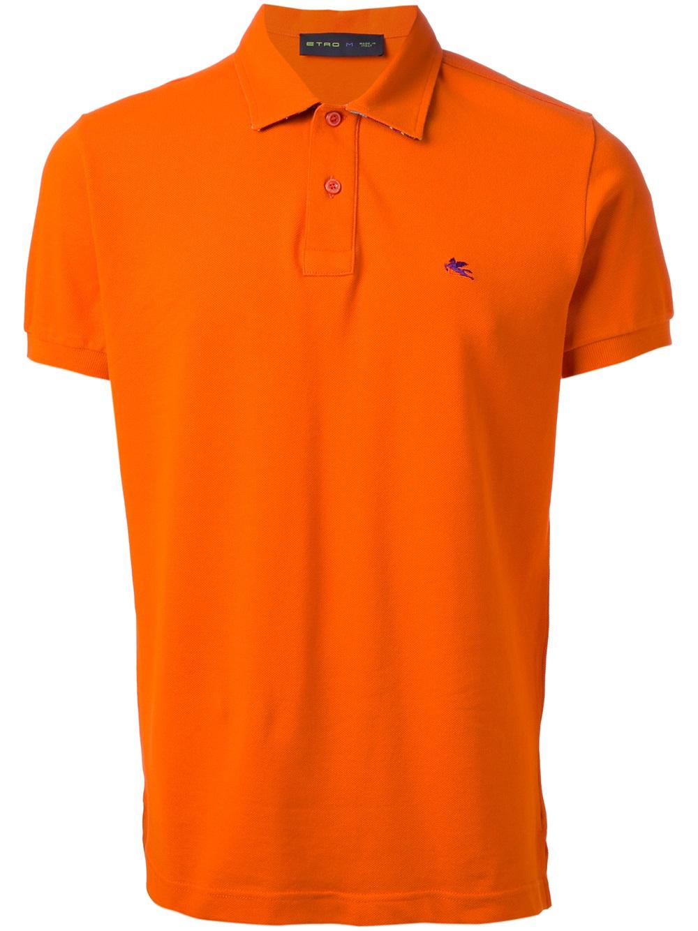 Etro Short Sleeve Polo Shirt In Orange For Men Yellow