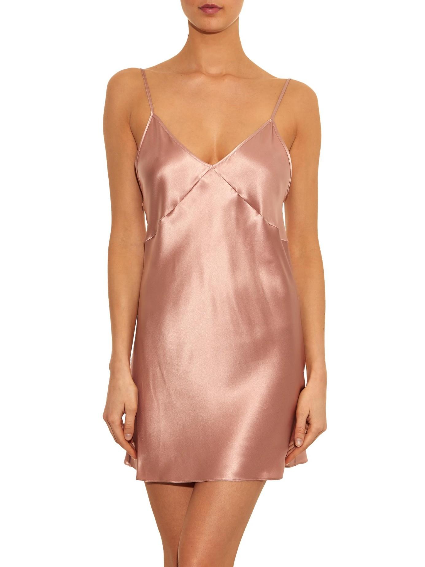 Lyst Fleur Du Mal Silk Satin Cami Dress In Pink