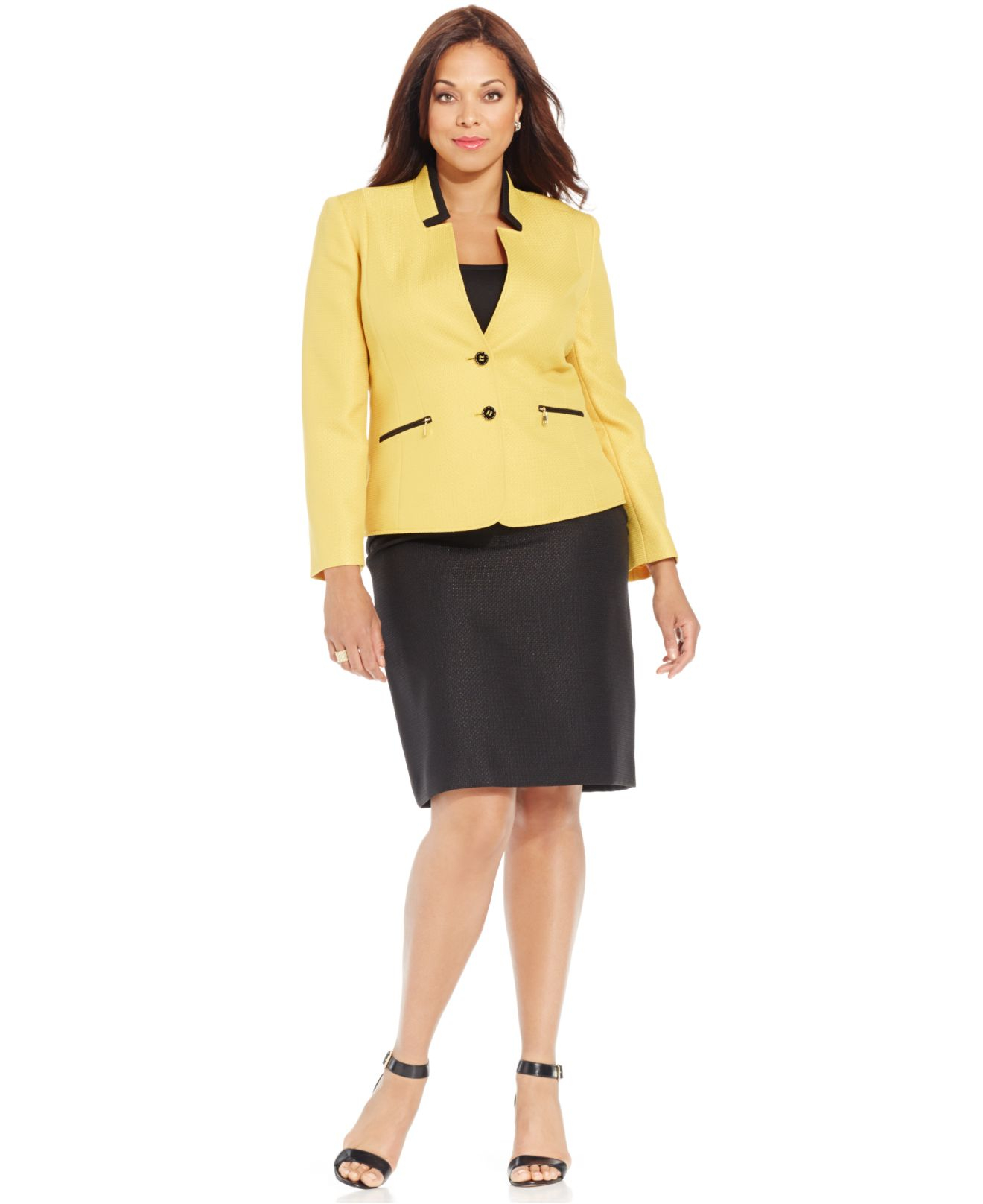 Lyst Tahari Plus Size Two Button Colorblocked Skirt Suit In Black