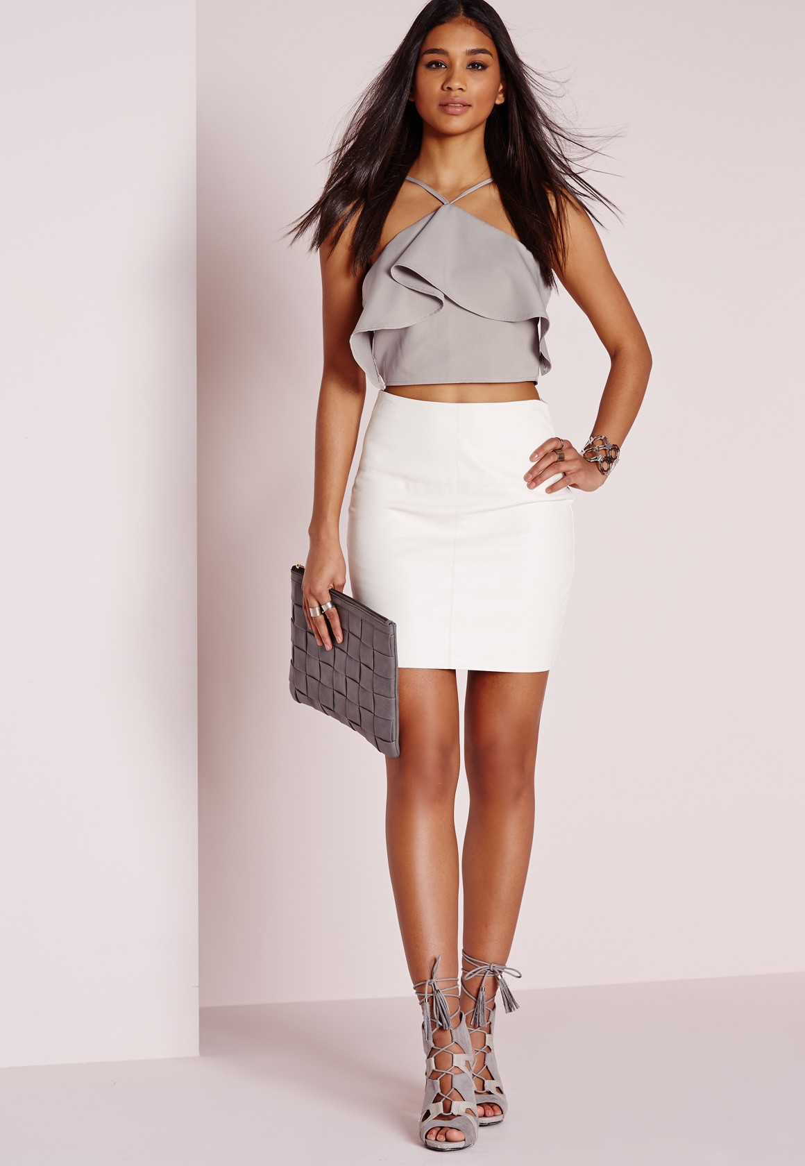 af8874b5ae7 ... 2b048697cf753 Lyst - Missguided Frill Halter Crop Top Light Grey in  Gray ...