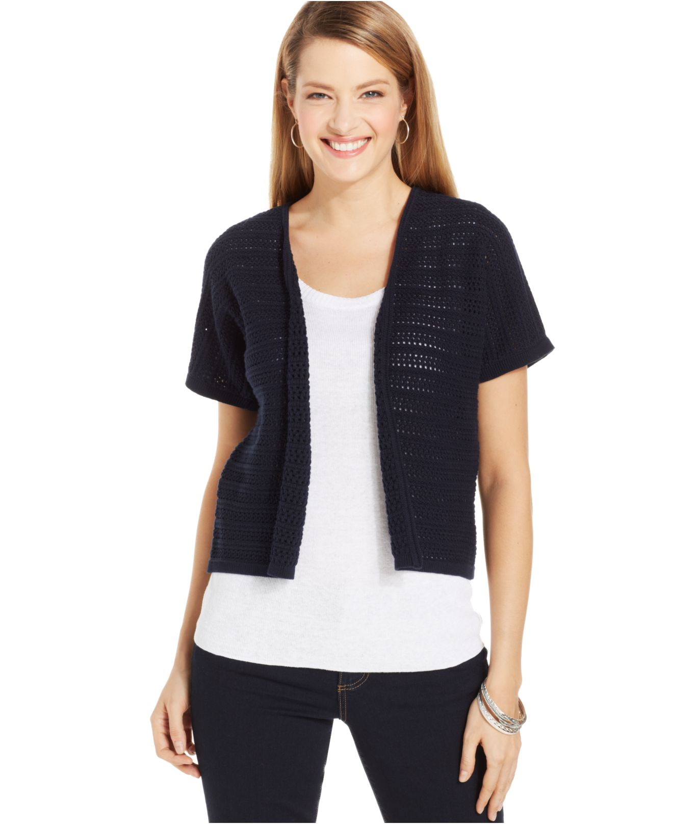 Jones new york Collection Open-Knit Short-Sleeve Cardigan in Blue ...
