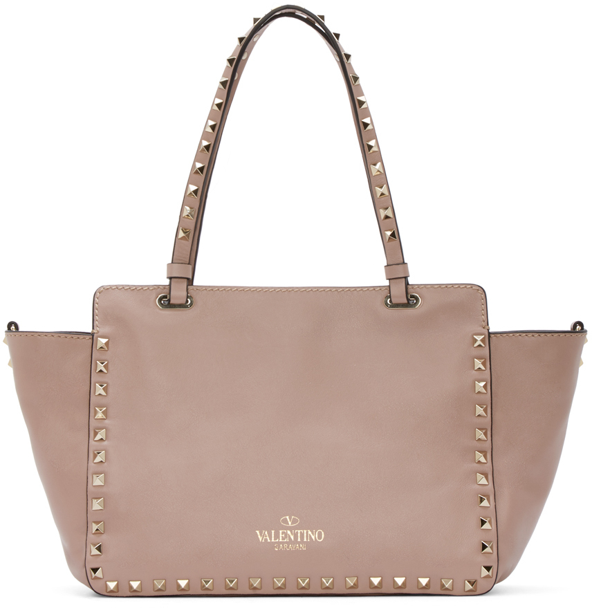 Valentino Powder Pink Small Rockstud Tote in Natural - Lyst 3d795fe727653