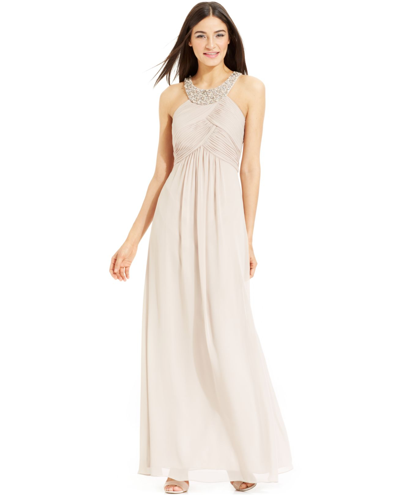 Lyst - Vince Camuto Bead-Trim Pleated Halter Gown in Metallic