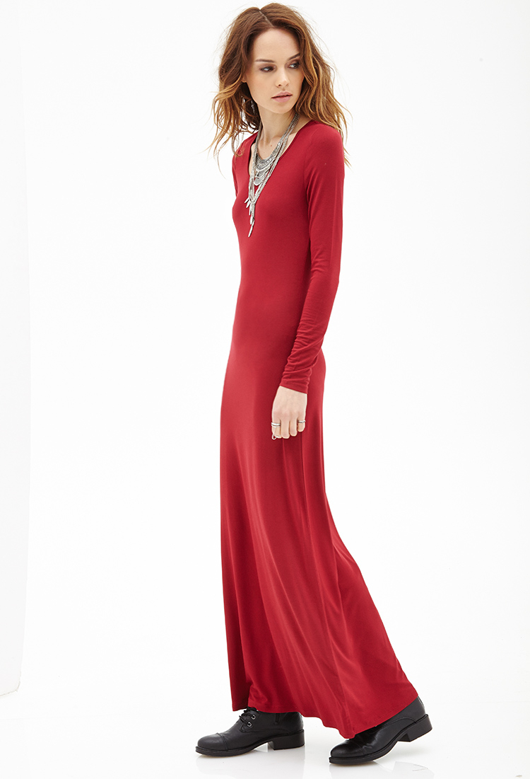 forever 21 longsleeved maxi dress in red lyst