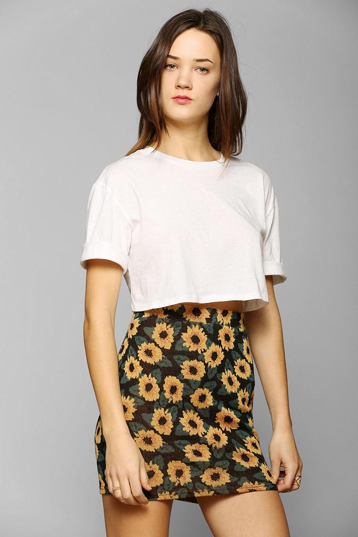 5fd2da36c1c8 Kimchi Blue Sunflower Jacquard Mini Skirt - Lyst