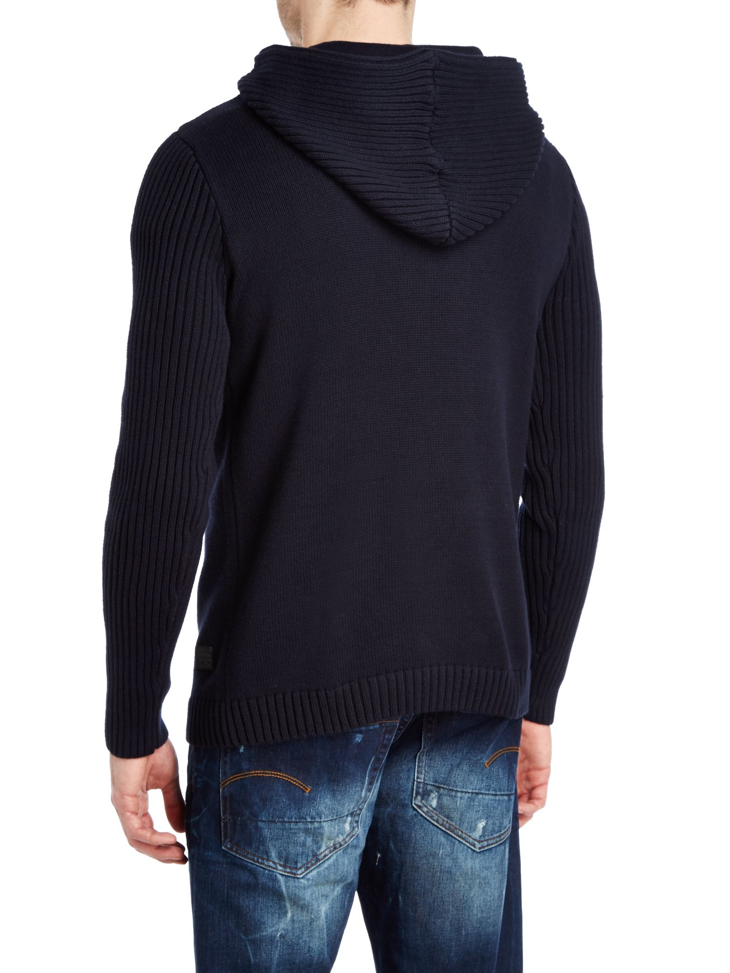 g star raw hooded premium knitted sweatshirt in blue for men lyst. Black Bedroom Furniture Sets. Home Design Ideas