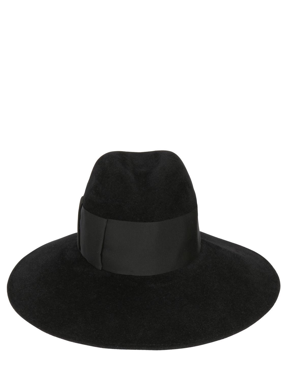 f7bcb1dd234 Borsalino Velour Lapin Fur Felt Wide Brim Hat in Black for Men - Lyst