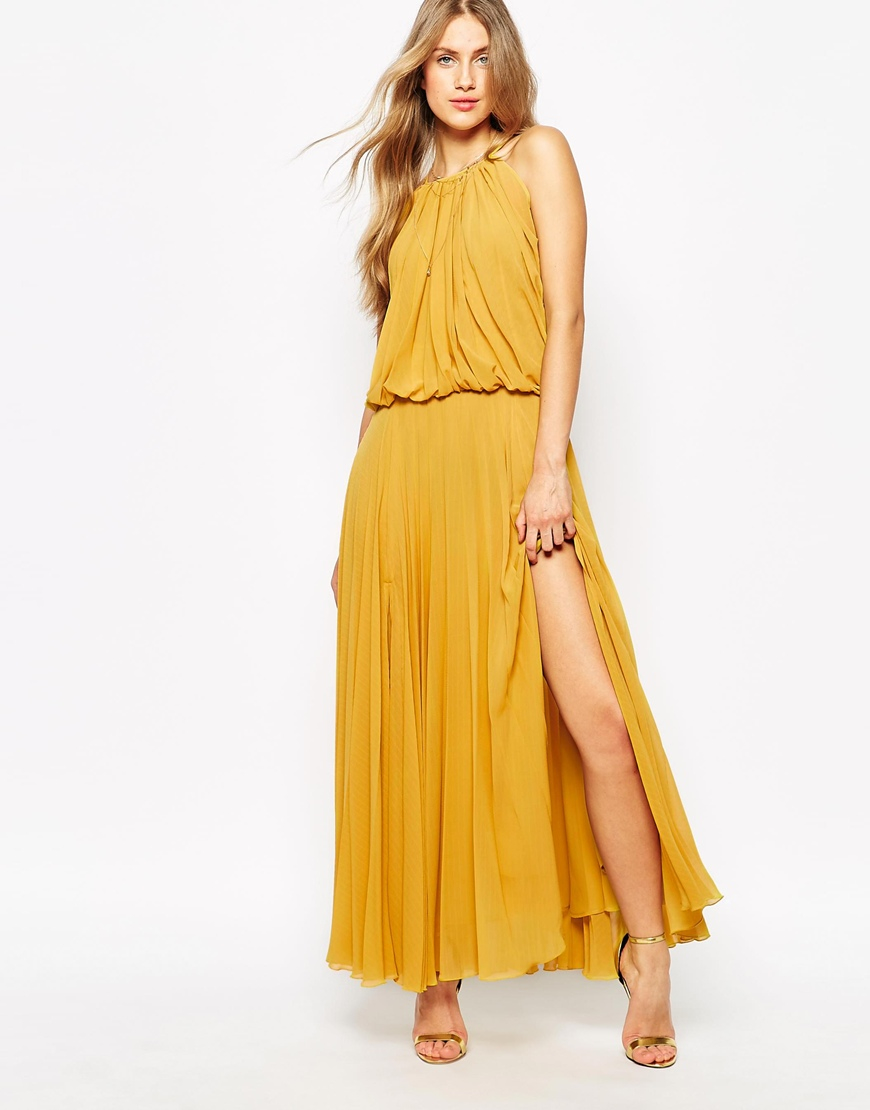 Mango Pleated 70&-39-s Glamour Maxi Dress in Yellow - Lyst