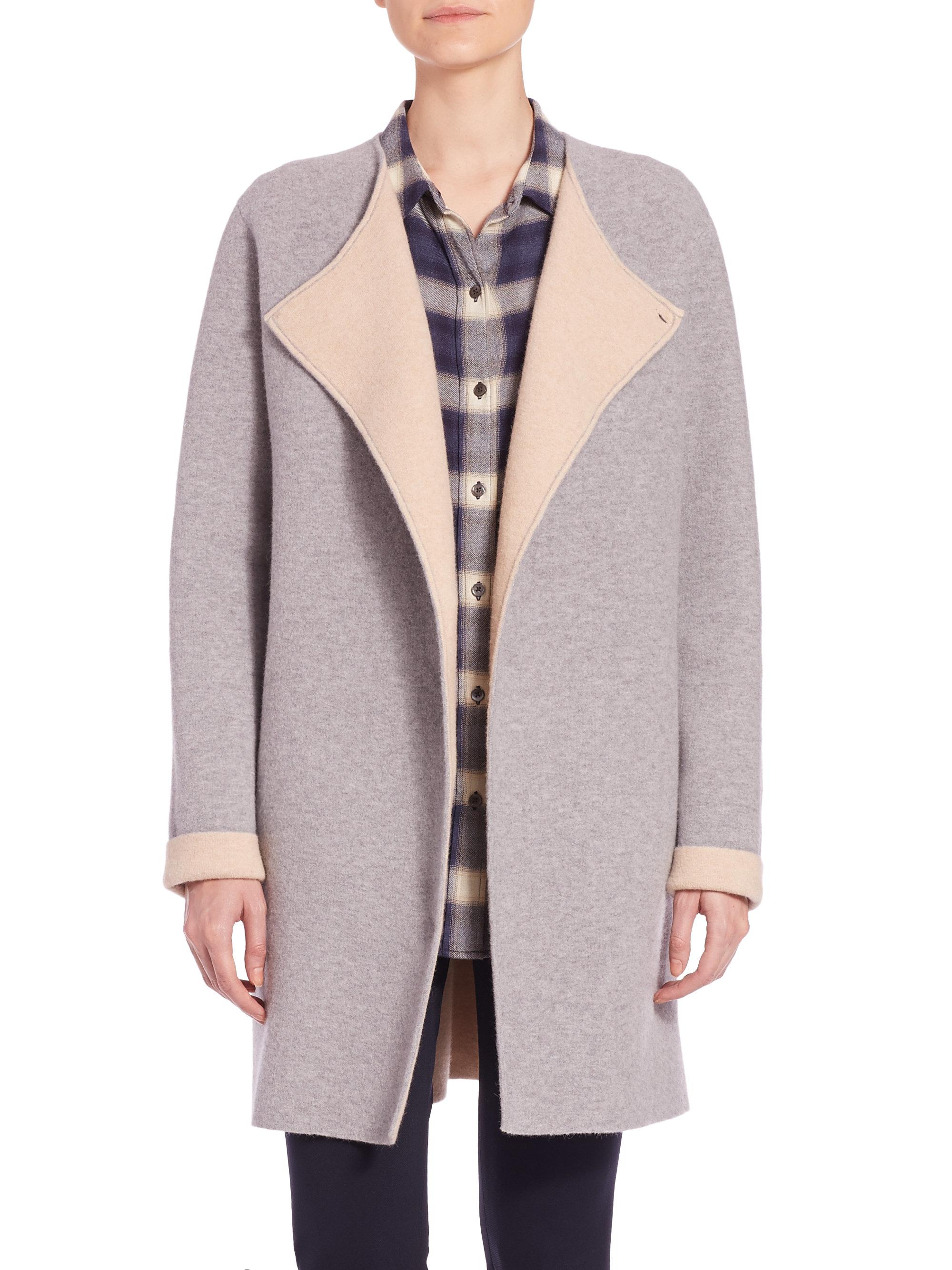 Theory Nyma K Felt Coat in Gray