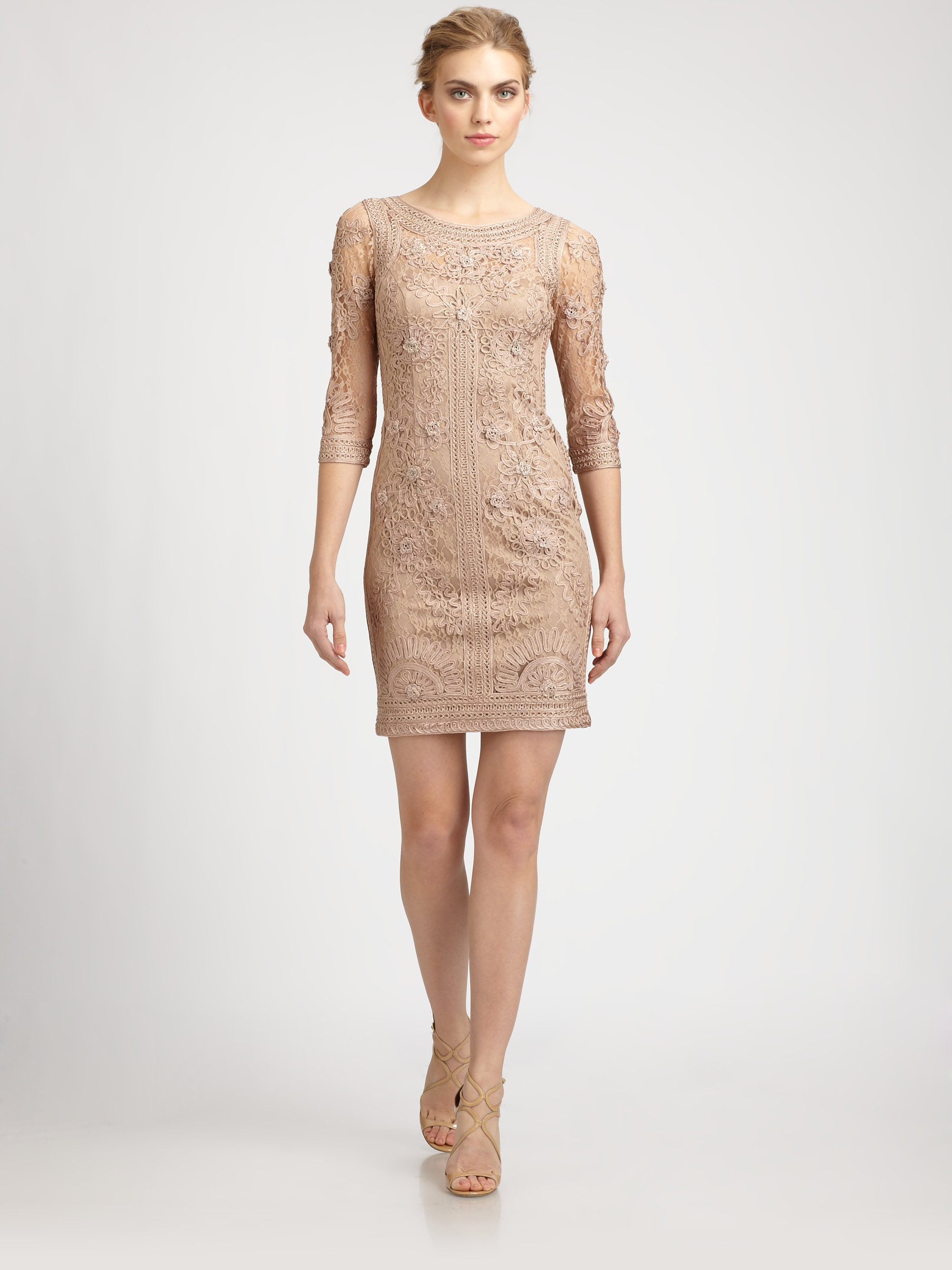 Lyst sue wong embroidered dress in brown