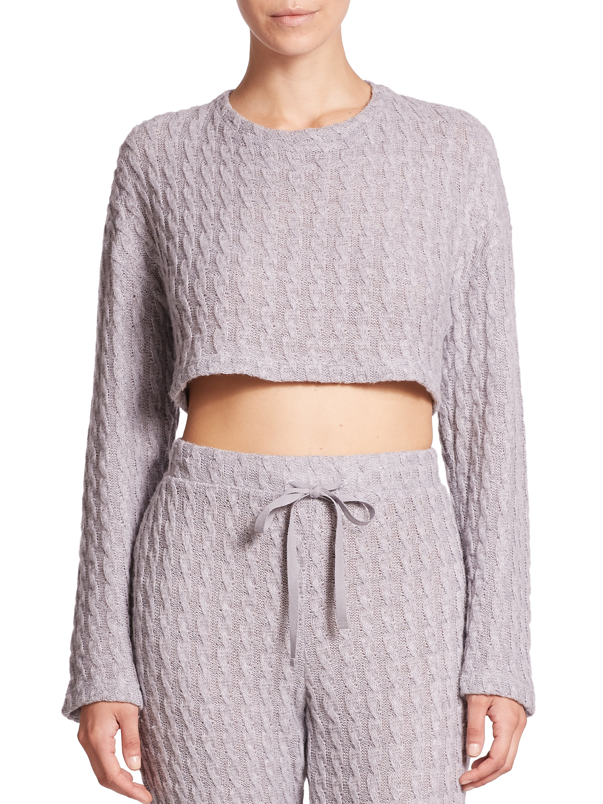 Csbla Jasmin Cropped Cable-knit Sweater in Gray | Lyst