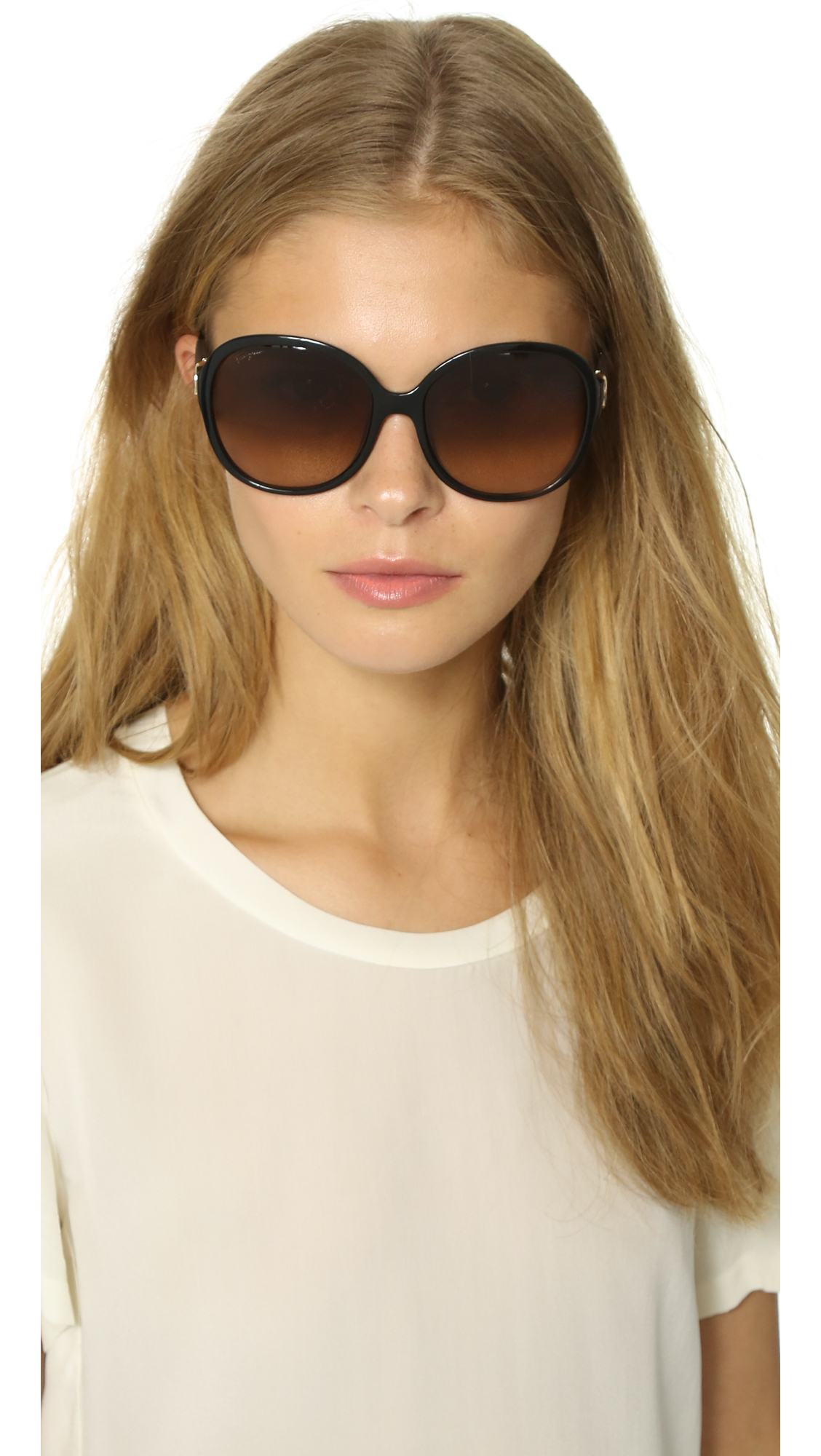 302950d4bc4 Lyst - Ferragamo Round Gancio Sunglasses in Black