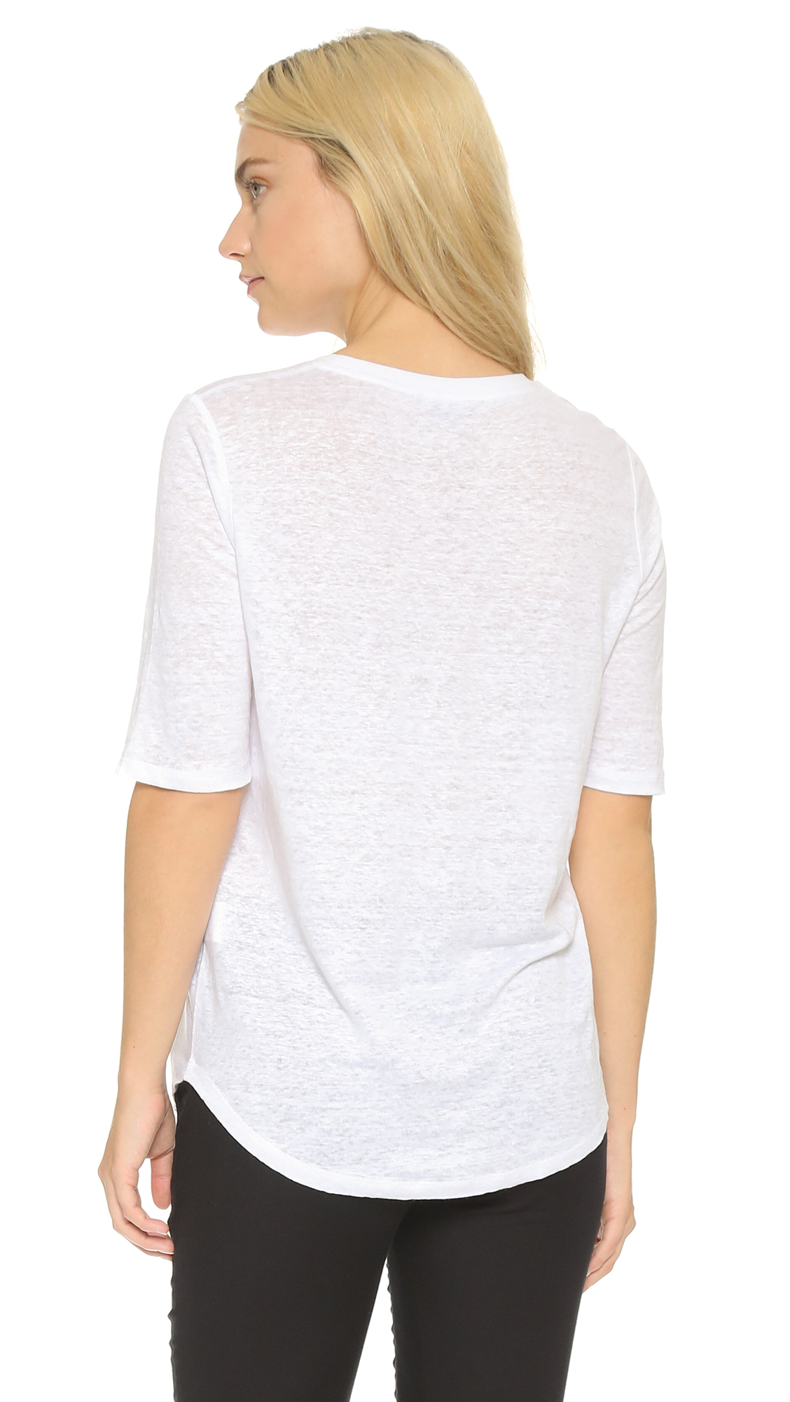 Lyst vince elbow sleeve tee optic white in white for Vince tee shirts sale