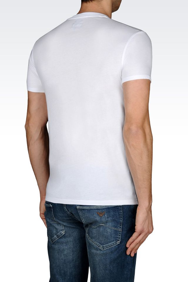 armani jeans t shirt in cotton jersey in white for men lyst. Black Bedroom Furniture Sets. Home Design Ideas