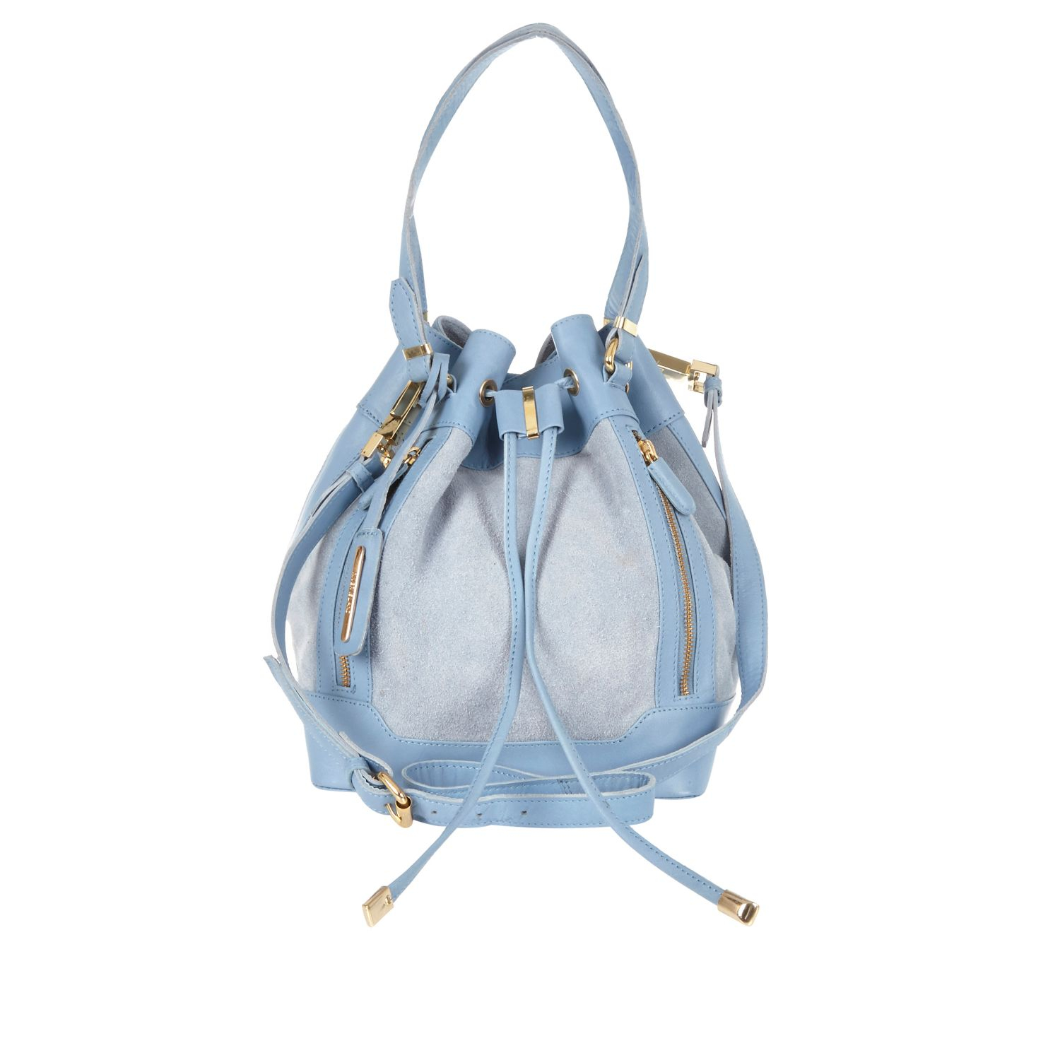 River Island Light Blue Leather Duffle Bag in Blue
