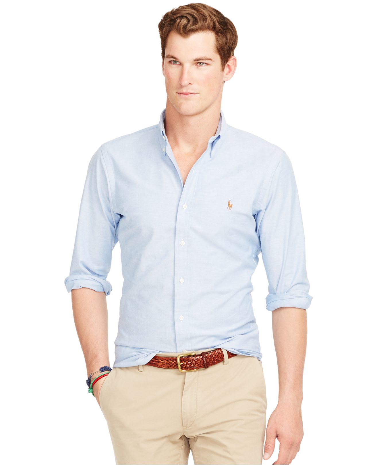 lyst polo ralph lauren slim fit stretch oxford shirt in