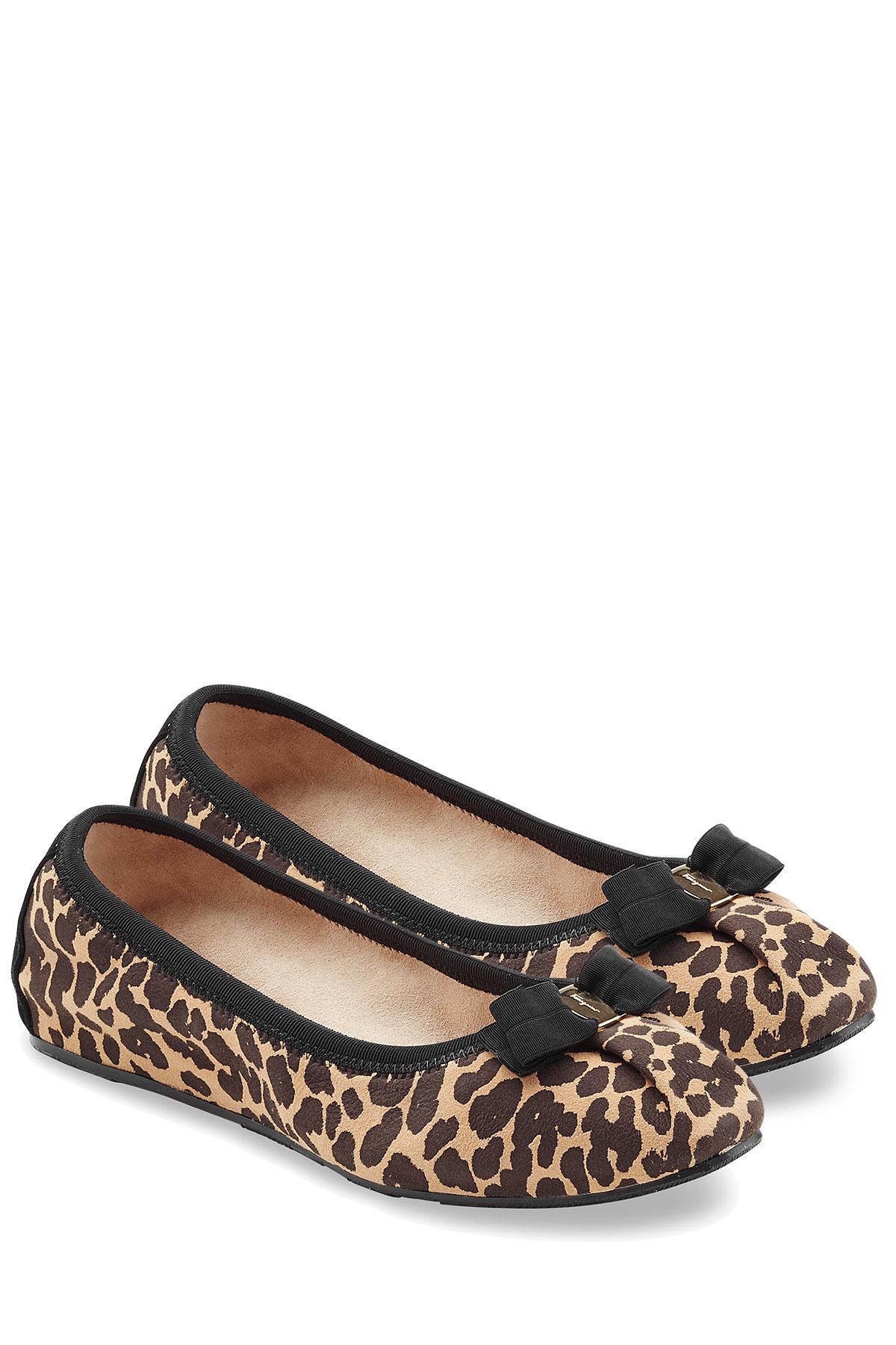 Lyst Ferragamo Suede Leopard Print Ballet Flats Animal