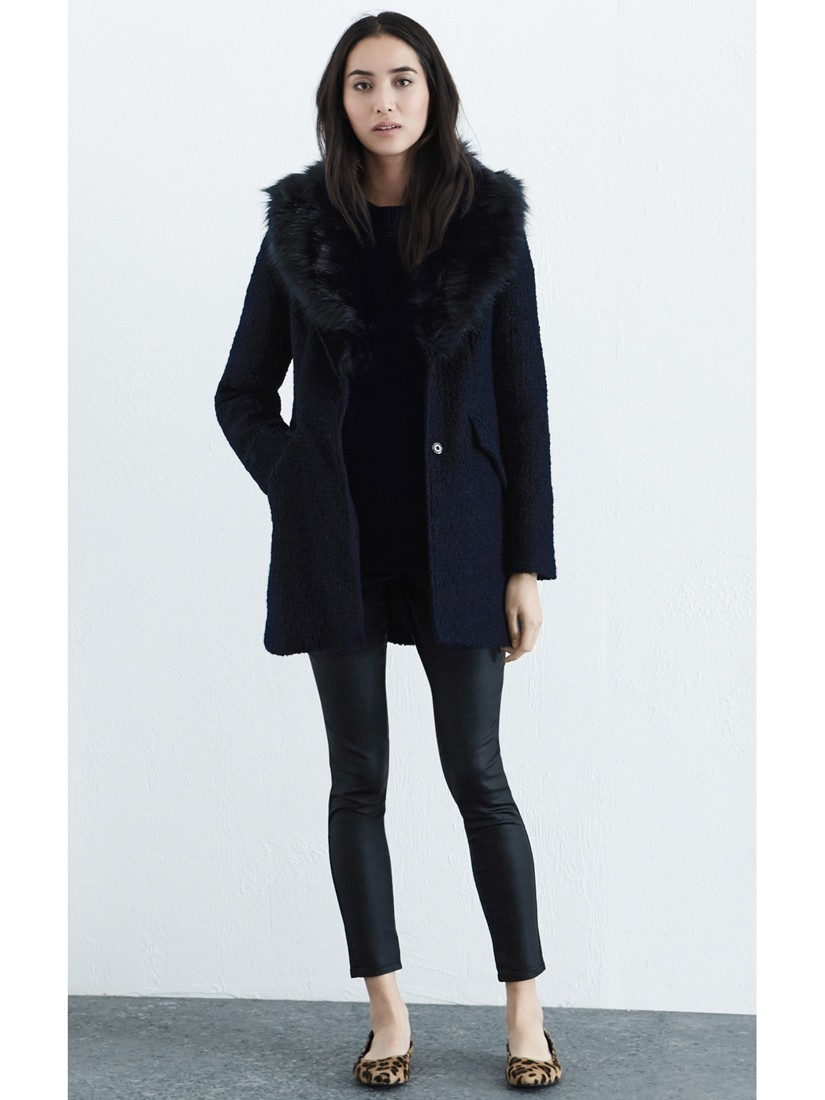 Warehouse Faux Fur Collar Coat in Blue | Lyst