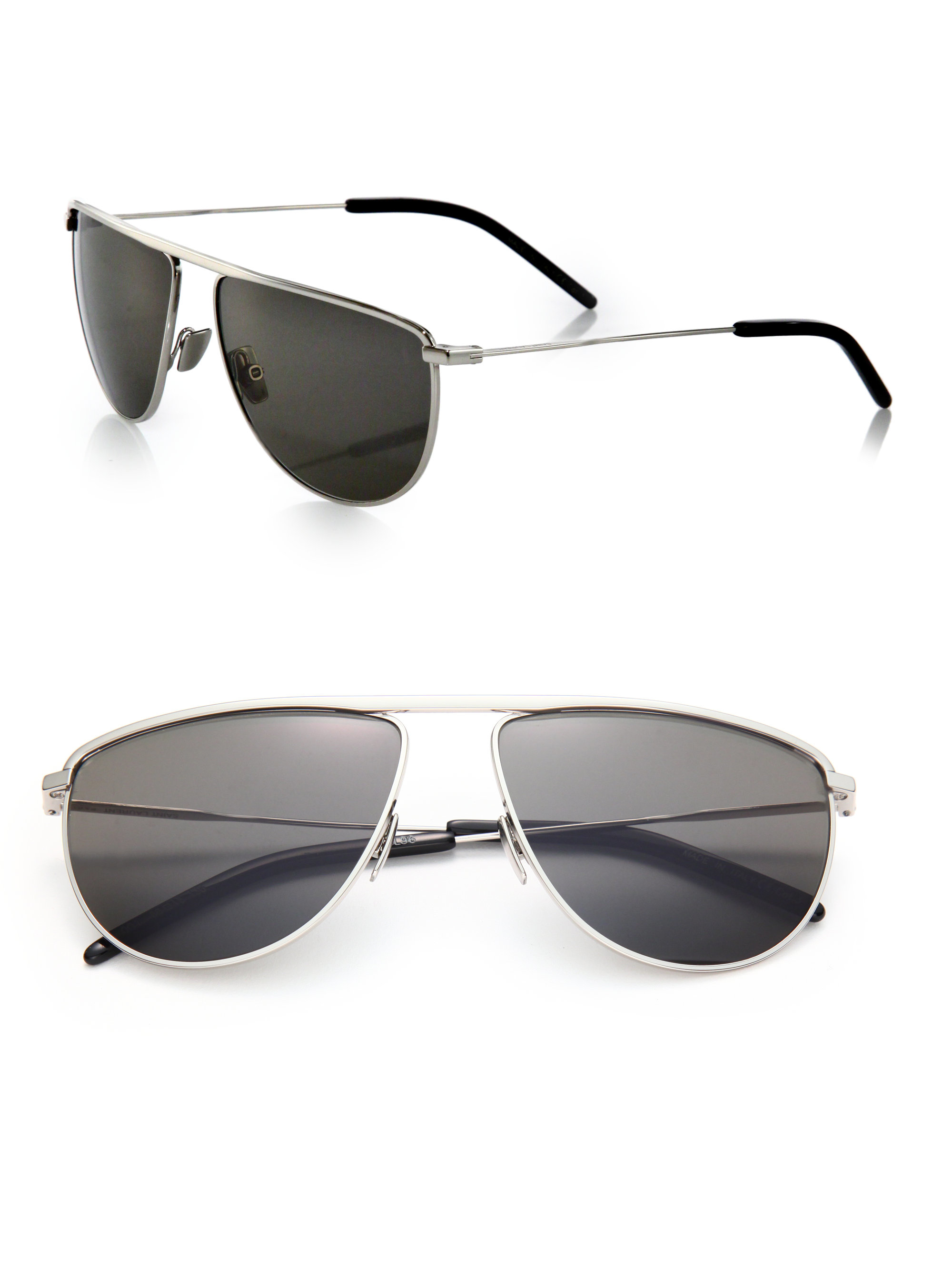 166c4fee8e Lyst - Saint Laurent 58mm Flat-top Pilot Sunglasses in Metallic for Men